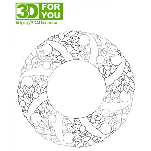 Рождественский венок (трафарет для 3D...
