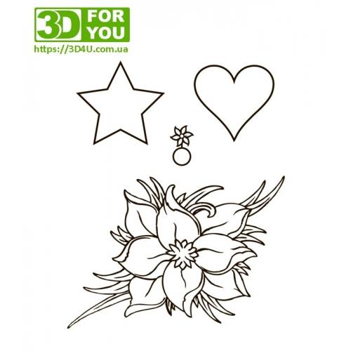 Квіти для декорацій (трафарет для 3D...