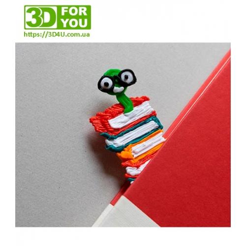 Закладка Книжный Червь (трафарет для 3D ручки)