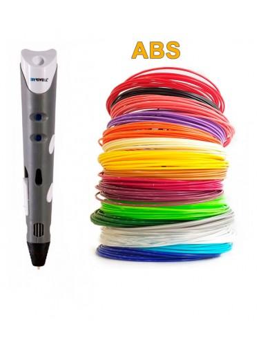3D-Ручка MyRiwell RP-100A серая + 90 м ABS (18 цветов). Набор Super