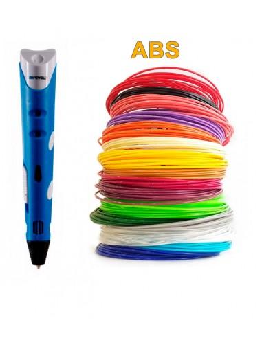 3D-Ручка MyRiwell RP-100A синяя + 90 м ABS (18 цветов). Набор Super