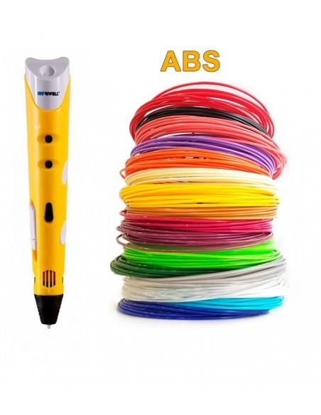 3D-Ручка MyRiwell RP-100A желтая + 90 м ABS (18 цветов). Набор Super