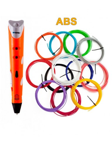 3D-Ручка MyRiwell RP-100A оранжевая + 60 м ABS (12 цветов). Набор PRO