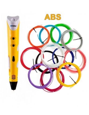 3D-Ручка MyRiwell RP-100A желтая + 60 м ABS (12 цветов). Набор PRO