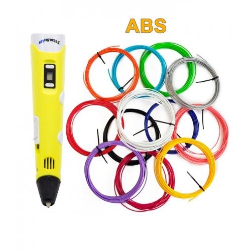 3D-Ручка MyRiwell RP-100B + 60 м ABS (12 кольорів). Набір START