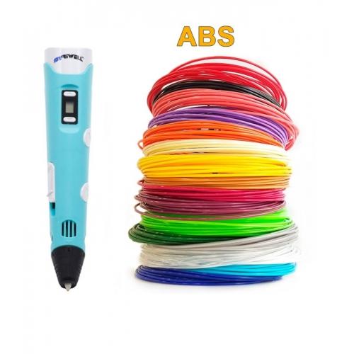 3D-Ручка MyRiwell RP-100B + 90 м ABS (18 кольорів). Набір Super