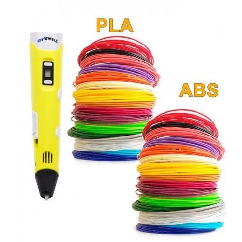 3D-Ручка MyRiwell RP-100B + 180 м пластика (PLA + ABS по 18 цветов). Набор GIGANT