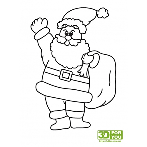 Дед мороз с мешком (трафарет для 3D ручки)
