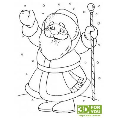 Дед мороз (трафарет для 3D ручки)