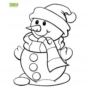 Снеговик в шарфике и шапочке (трафарет для 3D ручки)