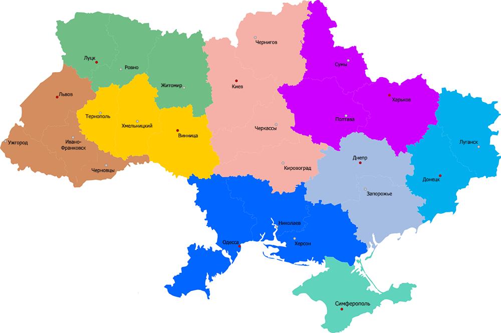Карта доставки по Украине
